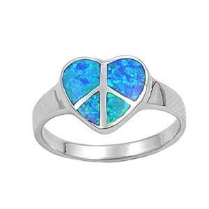 Sterling Silver 12mm Heart Shaped Blue Lab Opal Ring (Size