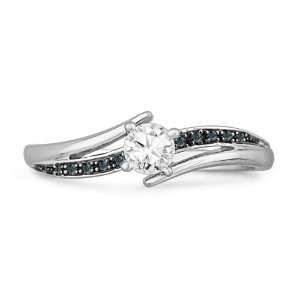 10KT White Gold Blue and White Round Diamond Bypass Promise Ring (1/4