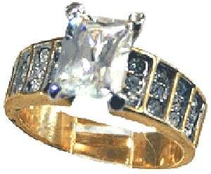 18kt Gold gp Ladies Emerald Cut Crystal Ring Sz 5 9