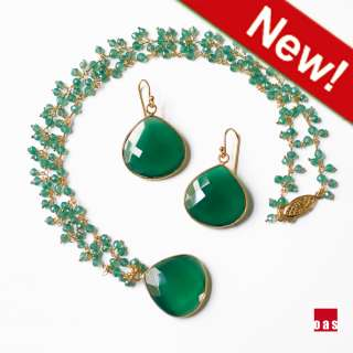 Artigiano / Emerald Heart Set / Green Onyx Earrings Pendant Necklace