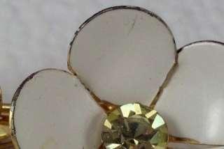 Vintage Enamel Double Flower Brooch Figural Pin Yellow Rhinestone