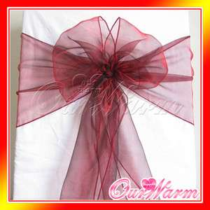 Dark Red Chair Organza Sash Bow Wedding Party Decor Hot