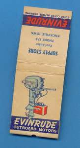 Evinrude Outboard Motors   Matchbook   Knoxville Iowa