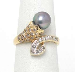 LOVELY 14K GOLD DIAMONDS & SOUTH SEA PEARL BYPASS RING