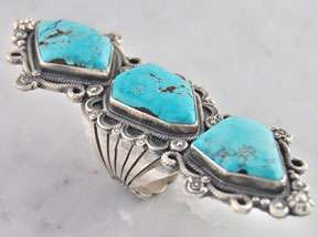 Wallace Yazzie Jr. Navajo Silver 3 Stone Turquoise Ring