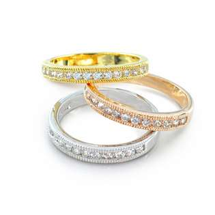Three Tone Gold Vermeil Stackable Pave Band Rings  Bling Jewelry