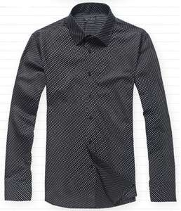 ZARA Mens White Blue Purple Black Diagonal Stripe Long Sleeve Shirt