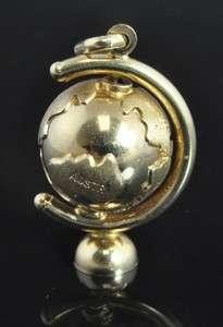 Italian Estate Vtg Yellow 14K Gold Earth Spinning Globe Moving 3D