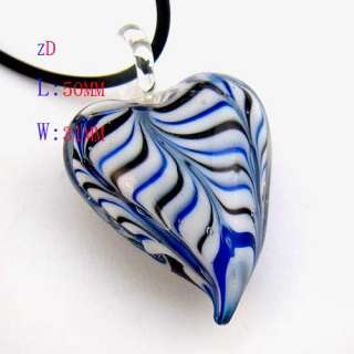 G3243 Vogue Stripes Heart Murano Glass Pendant Necklace