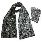 Luxury Divas Silver Gray Leopard Print Velvet Scarf & Glove Set