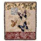 CC Home Furnishings Floral Butterfly Tapestry Afghan Throw Blanket 50