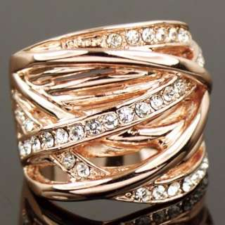 Swarovski Crystal rose Gold GP Finger Cocktail Ring a347