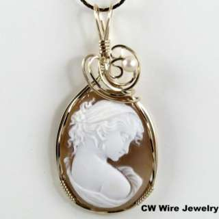 Hand Carved Shell Cameo Pendant 14K Rolled Gold