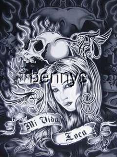 NEW Babe Skull Flames biker shirt, Dragonfly, XXL