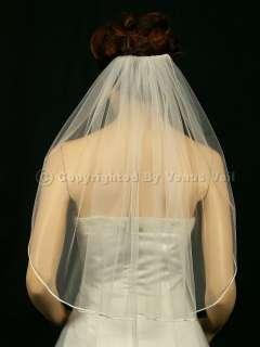 1T Ivory Shoulder Short Rattail Edge Bridal Wedding Veil