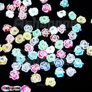 3D Ceramic Rose Flower Clear Rhinestones For Nail Art Tips Decorations