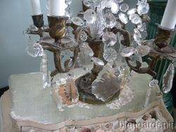 OMG Antique French Crystal Bronze Chandelier Table Lamp