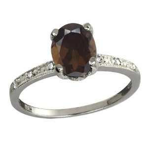 Oval Brown Smoky Quartz and White Topaz Argentium Silver Ring Jewelry