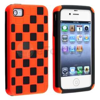 Orange/Black Checkered Hard Skin Case Cover+2x Film For iPhone 4 4S 4G