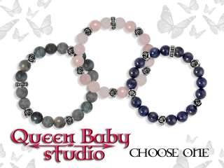 King QUEEN Baby studios 10mm Bracelet Silver ROSES 925