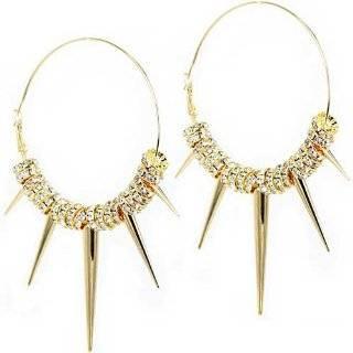 Basketball Wives Inspired Hoop Earrings   Celebrity Gold Tone Spike