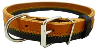 Designer Genuine Leather Tri Color Dog Collar 13 18