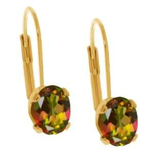 1.90 Ct Oval Shape Mango Mystic Topaz Yellow Gold Plated