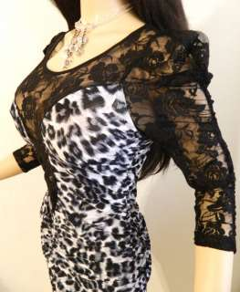 DEEP LACE SLEEVE BACK LOW CUT CLEAVAGE STRETCH MINI DRESS 1X