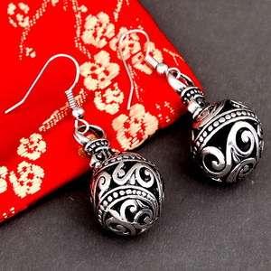 carve flower Tibetan silver ball antique dangle earring