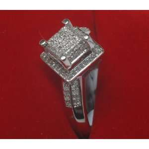 Diamond &White Gold Engagement Pave Ring Jewelry