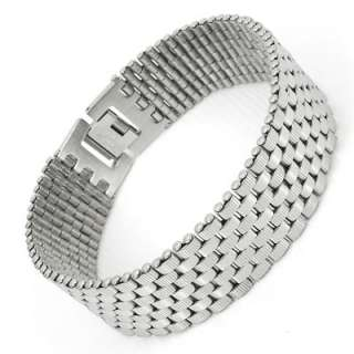 Mens Silver Stainless Steel Bracelet Bangle Charm Link