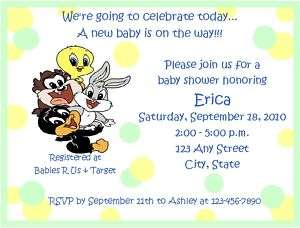 Personalized Baby Looney Tunes Baby Shower Invitations