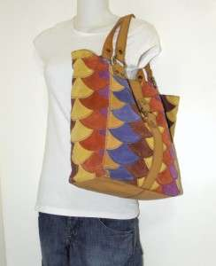 NEW LUCKY BRAND JEANS SUEDE LARGE PATCHWORK TOTE BAG