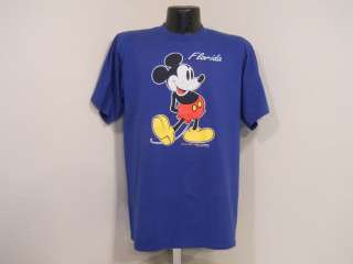 vintage 80S FLORIDA MICKEY MOUSE WALT DISNEY BLUE CRISP VELVA SHEEN t