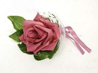 PINK MAUVE Roses Boutonniere Silk Wedding Flowers
