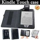 KINDLE TOUCH LEATHER COVER CASE BLUE+ WITH blue READING LIGHT LIGHTED