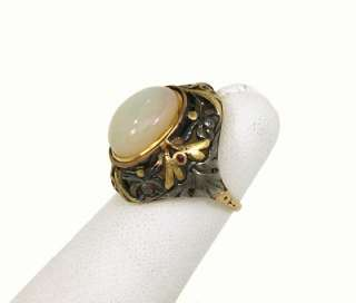 BEAUTIFUL VICTORIAN 14K GOLD, RUBIES & OPAL LADIES RING