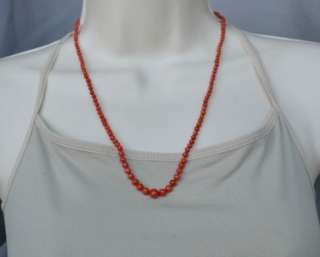 Antique Natural Mediterranean Red Coral Bead Necklace 14k Gold Clasp