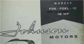Original 1958 Johnson Motors Outboard Parts Catalog 18HP Models FDE