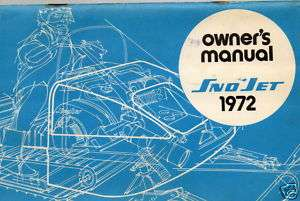 1972 SNO JET SNOWMOBILE OWNERS MANUAL NICE RARE