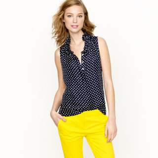 Naomi top in polka dot   sleeveless   Womens shirts & tops   J.Crew