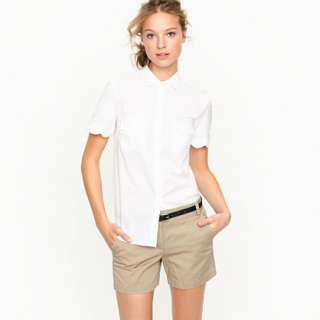 Scallop short sleeve shirt   blouses   Womens shirts & tops   J.Crew