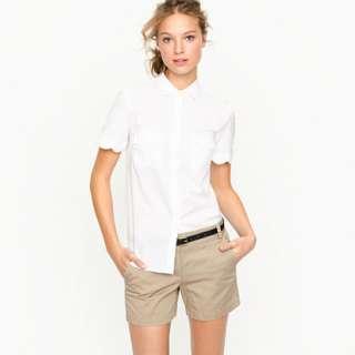 Scallop short sleeve shirt   blouses   Womens shirts & tops   J.Crew