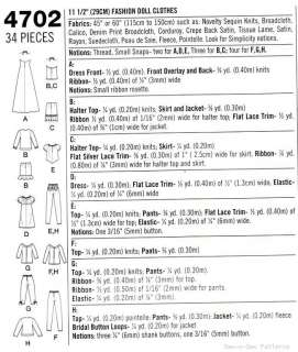 Barbie Doll Clothes Wardrobe SEWING PATTERN Dress Gown