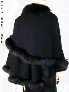 BLACK Cashmere REAL FOX Fur Trim Cape Coat Wrap Stole Shawl Maya