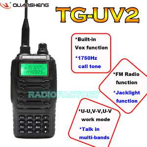 Dual Band TG UV2 VHF + UHF portable radio PTT earpiece
