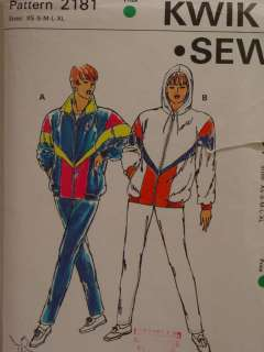 PATTERN KWIK SEW WOMENS HOODED WIND/RAIN SUITS SZ XS XL