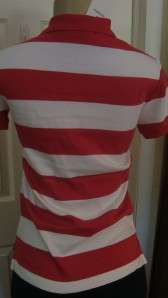 RALPH LAUREN SPORT WOMEN POLO SLIM FIT NAVY PINK RED WHITE STRIPE