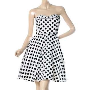 Ever Pretty Ever Pretty Print Polka Dots Satin Black White Rhinestones
