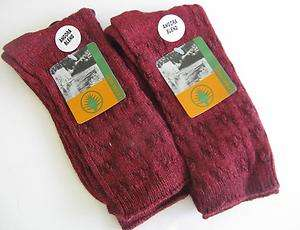 NEW*ladies wool blend socks*DARK RED*two pairs*size 9 11*FREE U.S